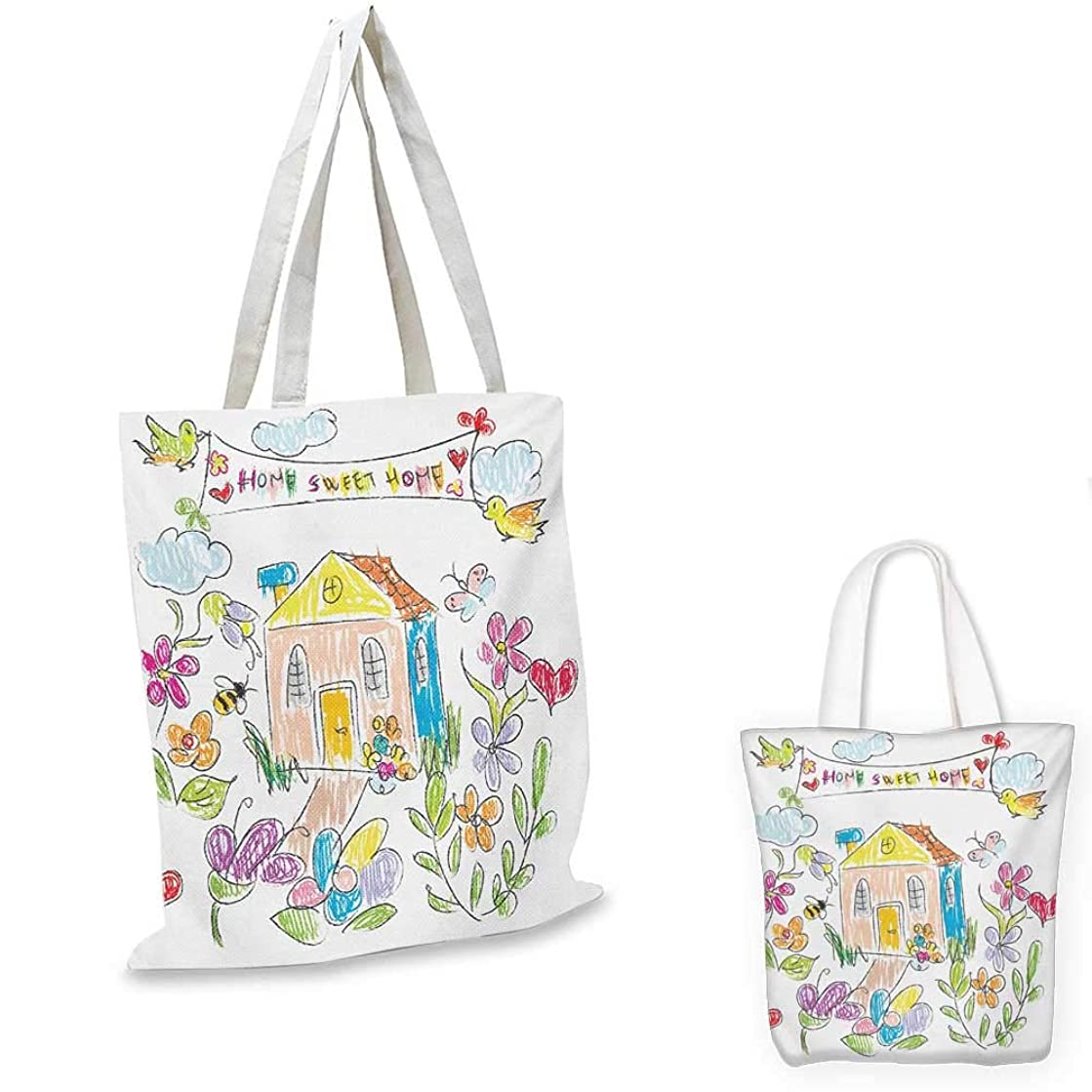 Home Sweet Home ultralight shopping bag Childish Doodle Artwork with Colorful Chalk Style Painting Flowers Birds pocketable shopping bag Multicolor. 13