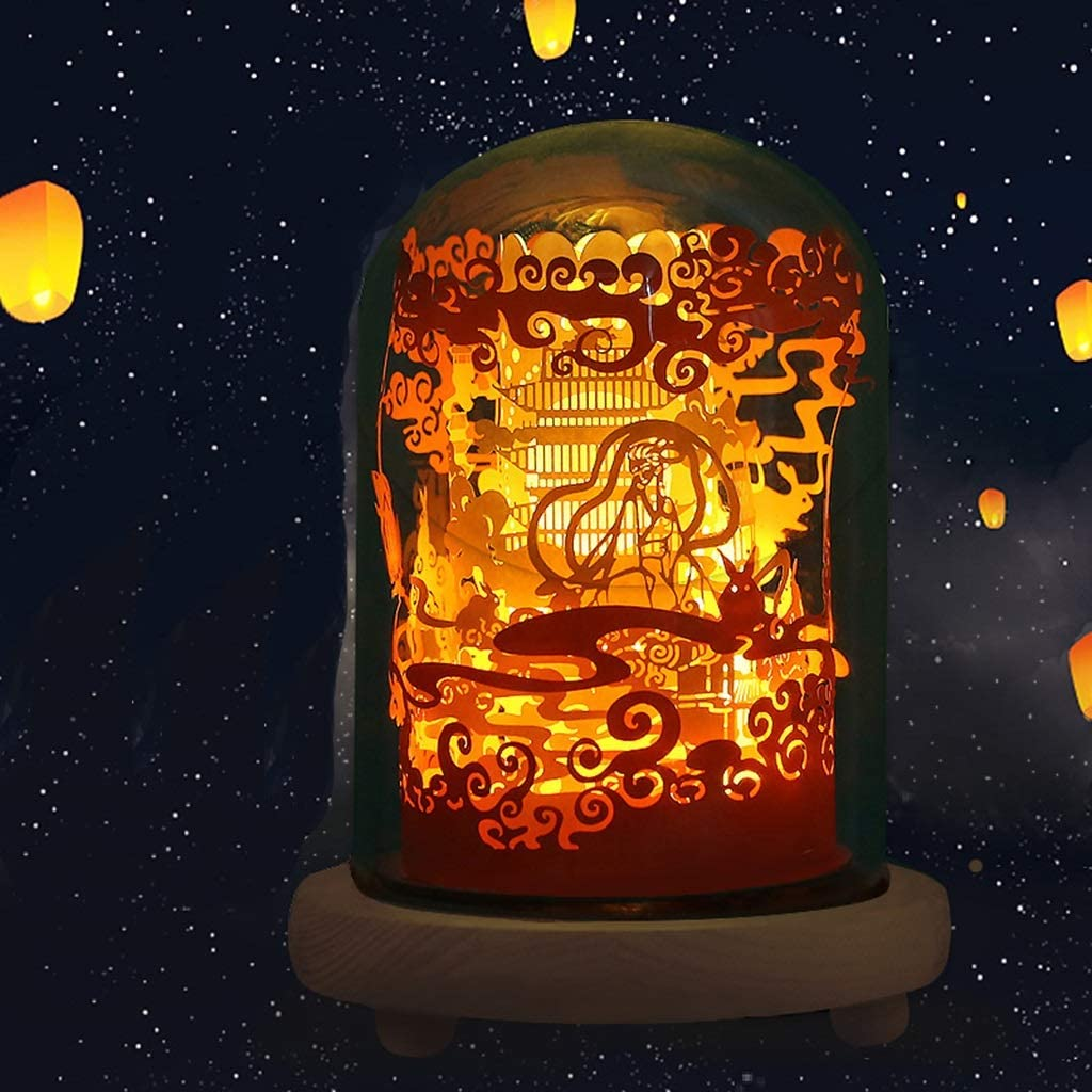 Fresno Mall QFFL 3D Paper Carving Lamp DIY T Small Brand new Light Foldover Homemade