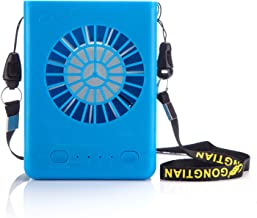 Powshop Portable Necklace Multi-Functional Rechargeable Mini Fan 3 Speeds Personal Cooling Fan with 18650 Li-ion Battery & USB Charging & String for Outdoors/Travel/Office (Blue)