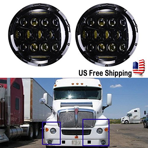 7 Inch LED Round Headlight Conversion for Kenworth T2000 T-2000 Tractor Trailer Truck 150W 6000K Hi/Lo Beam Led Headlamp 1 Pair