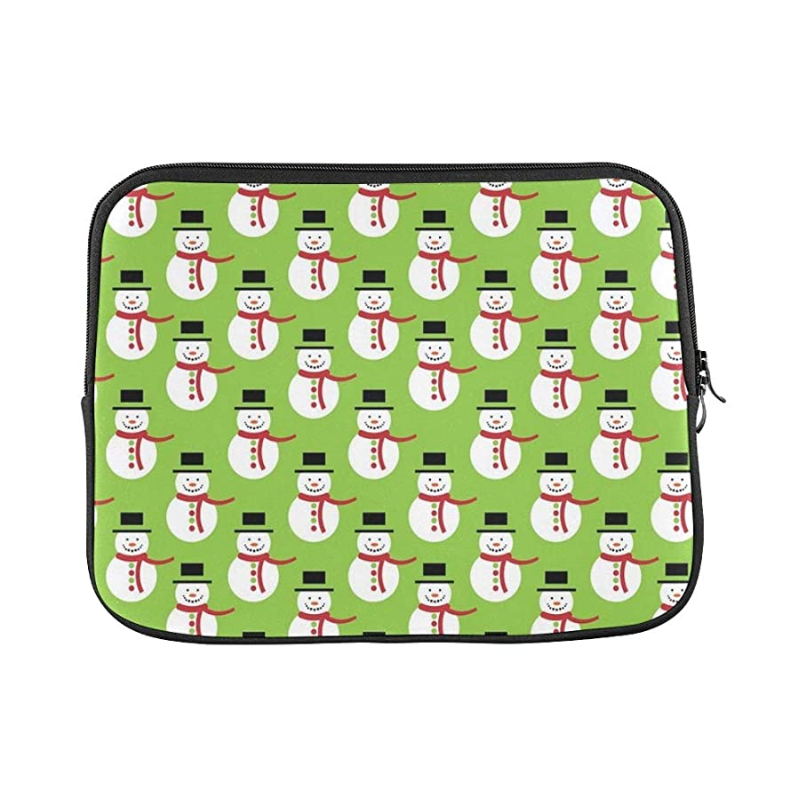 Design Custom Christmas Snowman Green Paper Sleeve Soft Laptop Case Bag Pouch Skin for MacBook Air 11