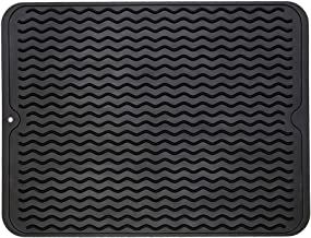 ZLR Silicone Dish Drying Mat Easy Clean Dishwasher Safe Heat Resistant Eco-Friendly Trivet Black Large 15.8 inches X 12 inches