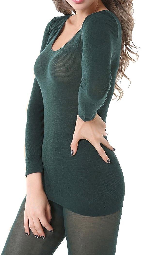 Helan Women's Ultra Soft and Thin Sexy Warm Thermal Body Underwear Set