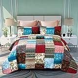 ENCOFT 3 teilig Bettwäscheset Tagesdecke 100% Baumwolle Quilt Patchworkdecke Doppelbett