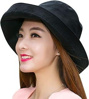 610a664023a68 ITODA Femme Capeline de Soleil Coton Chapeau de Plage Pliable Visière Roulé  Large Bord avec N½UD