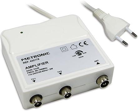Metronic, Amplificador de Interior con Ajuste de Ganancia FM-UHF, Ganancia Ajustable 30dB máx, Protección 4G, Tomas TV, Blanco