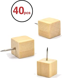 EKR VBLab 40 Count Never Falling Off Wooden Push Pins (Square)