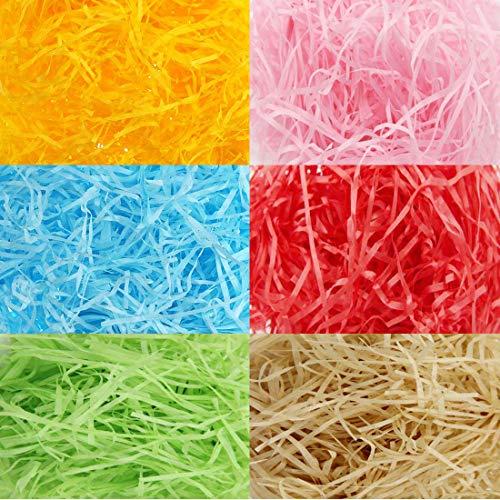 240 g Papel en Tiras de Cesta de Pascua de Multicolor Papel de Seda Raffia Hierba Papel Arrugado Rallado para Rellenar Caja de Regalo (Conjunto de Colores 6)