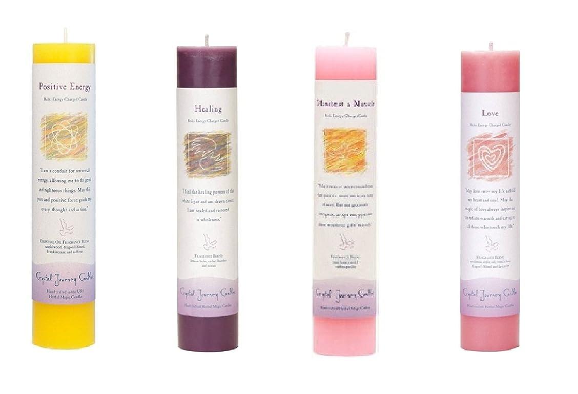 有害悪用どっち(Positive Energy, Healing, Manifest a Miracle, Love) - Crystal Journey Reiki Charged Herbal Magic Pillar Candle Bundle (Positive Energy, Healing, Manifest a Miracle, Love)