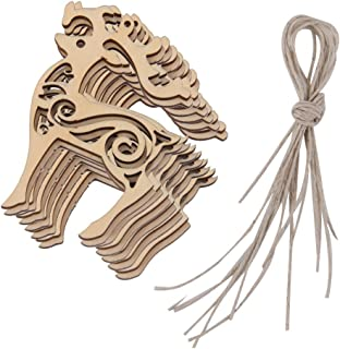 10pcs Christmas Hanging Ornaments Wooden Hanging Embellishments Wood Pieces Tree Pendants Holiday Decoration for Xmas Tree Decoration - Reindeer