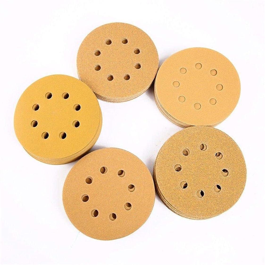 北西列挙するはちみつZKS-KS 研磨剤の100pcs 5インチ8つの穴がループサンディングディスクオービットサンドペーパーマット60/80/120/150/240グリットツールをフック 砥粒