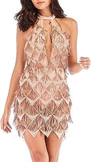 Women's Gatsby Flapper Dress Hollow Out Tassel Halter Backless Glitter Sequin Dresses