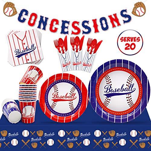 Review Of Baseball Party Supplies Set Serves 20 Guests Baseball Party Tableware Kit Concessions Bann...