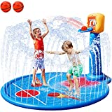 FORTY4 77' Large Splash Pad Sprinkler for Kids Toddlers, with Inflatable Basketball Hoop & 2 Mini Basketball, Summer Outdoor Water Play Mat Toys Gifts for 3-6 Year Old Girls Boys
