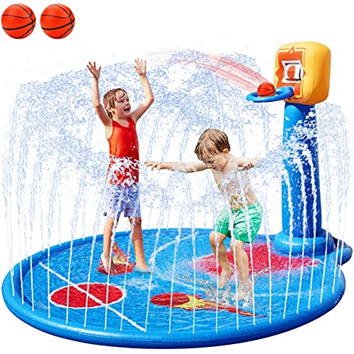 FORTY4 77  Large Splash Pad Sprinkler for Kids Toddlers  with Inflatable Basketball Hoop & 2 Mini Basketball  Summer Outdoor Water Play Mat Toys Gifts for 3-6 Year Old Girls Boys