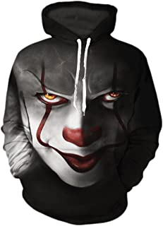 Men's Floral Print Clown Hoodie Long Sleeve Pullover with Pocket