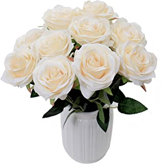 LUSHIDI Artificial Flower Rose Silk Bouquet for Baby Shower Party Home Wedding Decoration,Pack of 10 (Cream)