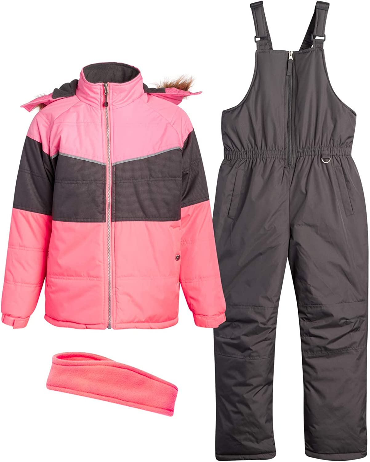 Pink Platinum Girls' Snowsuit - Water Resistant Fleece Lined Winter Ski Jacket and Snow Pants Overall Set (Toddlers/Girls)