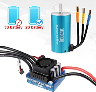 BL3670 Brushless Motor 1900KV RC Car Waterproof Sensorless and 120A ESC Eletronic Speed Controller Combo Shaft 5mm for 1:8 RC Car Only 2S Lipo