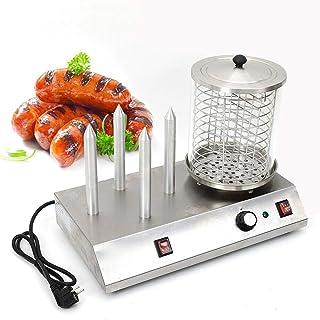 Hot Dog Macchina per Hot Dog Maker, dispositivo Hot Dog per salsicce con 4 bruciatori riscaldanti per salsicce Hot Dog Mak...