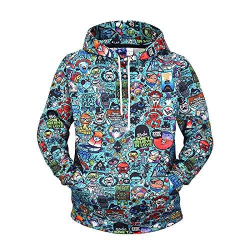 ASSD Men's Hoodie 3D Digital Print Graffiti Sweatshirt Hip Hop Streetwear Men's Hoodies Casual Street Hooded Pullover Long Sleeve Hoodie (Color : Lm907017, Size : XL)