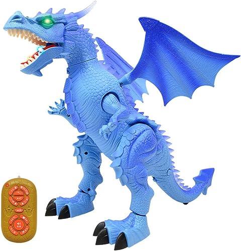 QXMEI Dinosaurier Spielzeug Simulation Tiermodelle Elektrische Intelligente Fernbedienung Dinosaurier Kinder Spielzeug,Blau