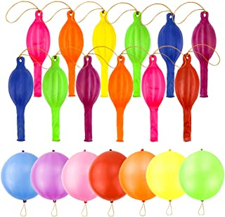 RUBFAC 80 Punch Balloons, Neon Punching Balloons with Rubber Band Handles, 18 Inches, Various Colors Punch Balls, for Gifts, Children's Games, Weddings