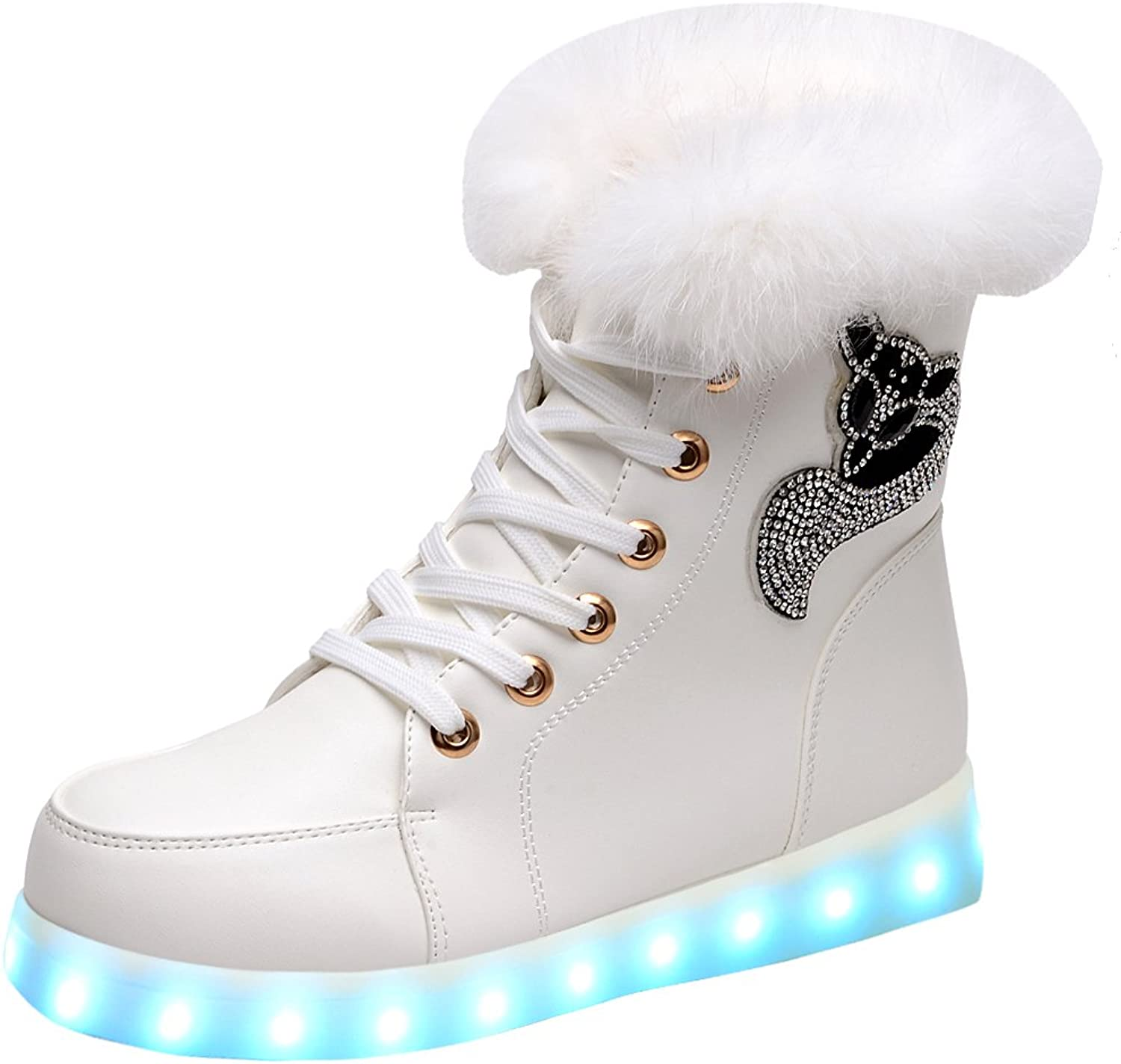 Odema Womens LED shoes High Top Sneakers Light up Winter Ankle Snow Boots