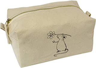 'Rat Holding Flower' Canvas Wash Bag / Makeup Case (CS00018412)