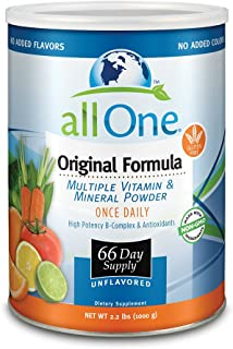 allOne Multiple Vitamin & Mineral Powder Original Formula Once Daily Multivitamin Mineral & Amino Acid Supplement w/ 8g Protein 66 Servings