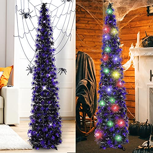 HMASYO 5 Foot Black Tinsel Halloween Christmas Tree with 50 Color Lights - Collapsible Pop Up Spider Sequin Artificial Pencil Halloween Tree Decorations for Home Fireplace Party Indoor Outdoor