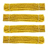 Waycreat 400 Pieces Pipe Cleaners Gold Chenille Stem for DIY Art Craft Decorations (6mm x 12 Inch)