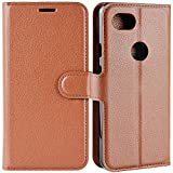 LuckQR Flip Wallet Leather Case for Google Pixel 3a, Card holder, Stand feature, Magnetic Button, Edge stitch line Anti crack, Tough Defense, Soft TPU inner shell Protect Phone Full Body Corner, Brown