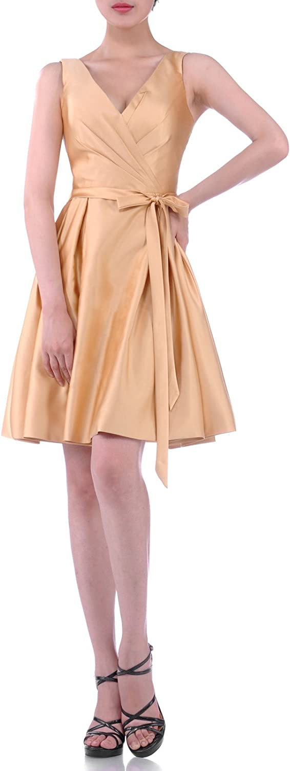 Adgoldna Natrual Straps Satin Aline Knee Length Bridesmaid Dress