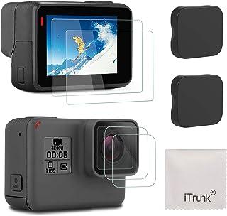 アイトランク iTrunk Gopro Hero7 Black Hero6 Hero5 (2018) に適用 9H 強化ガラスフィルムセット 保護フィルム スクリーン レンズフィルム レンズカバー キャップ 2枚セット カメラ アクセサリー 気泡ゼロ/貼付け簡単/防水防油