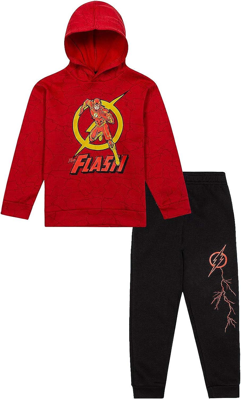 The Flash Kids Fleece Hooded Sweatshirt /& Sweatpants 2 Piece Activewear Set