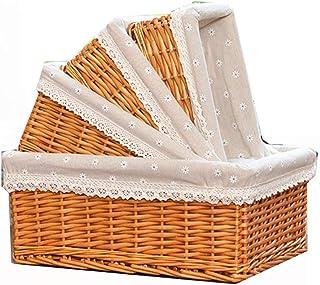 KHFJ Panier de Rangement Fleur Liner Imprimé Paniers en Osier à la Main Ensemble de Rangement de 4, décoratif Stockage Bin...