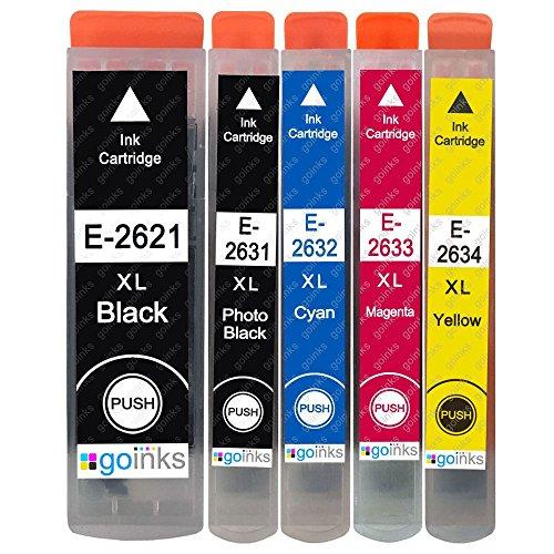 1 Go Inks Set di 5 cartucce di inchiostro per sostituire Epson T2636 (26XL Series) compatibili/non OEM per stampanti Epson Expression Premium (5 inchiostri)