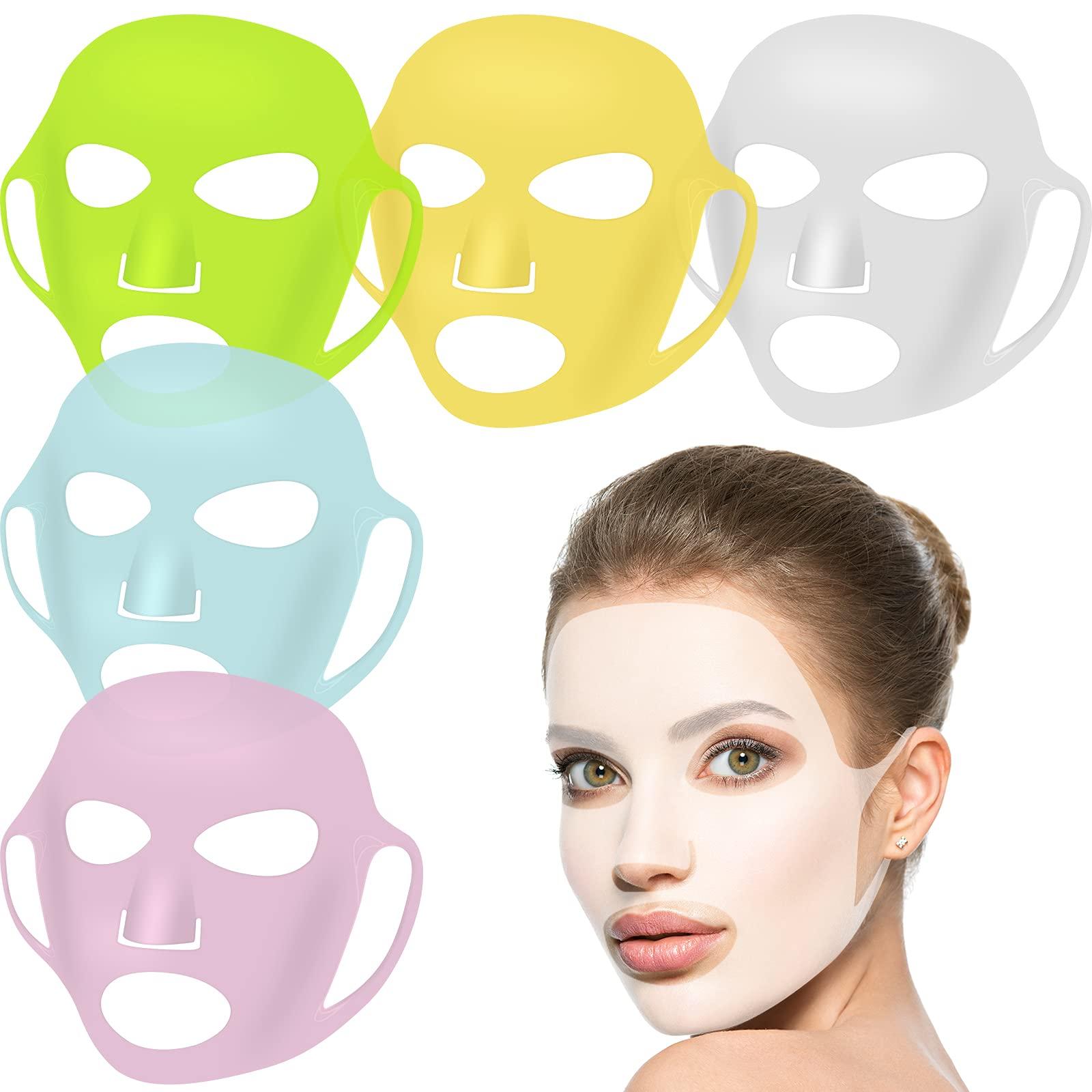 5 Pieces Reusable Silicone Facial Mask Facial Mask Cover Silicone Skin Mask Reusable Moisturizing Face Silicone Face Wrap for Sheet Prevent Evaporation Masks Face Care Tool (Chic Colors)