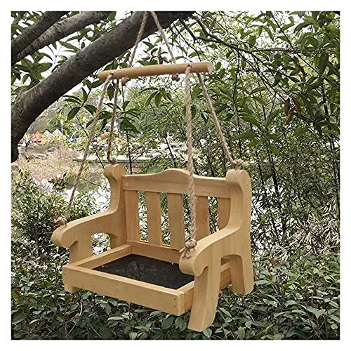 LOYSEN Schwingende Baumverzierung, Stuhl Vogel Tisch Feeder, Garten Hängen Swing Chair Bird Feeder Für Terrasse Yard Tree Decor Natürliche Schönheit Vogel Habitat (Color : Gold)