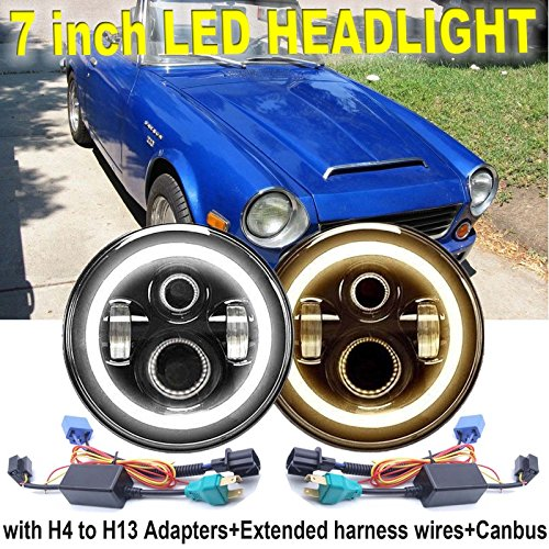 7'' Round LED Headlight Round Headlamp Amber Halo Ring Angel Eyes H6024 H6012 H6014 H6015 H6017 with High/Low Beam/DRL/Turning Signal-For Jeep Wrangler/Range Rover/Datsun 1600 180B 200B 520 620 720