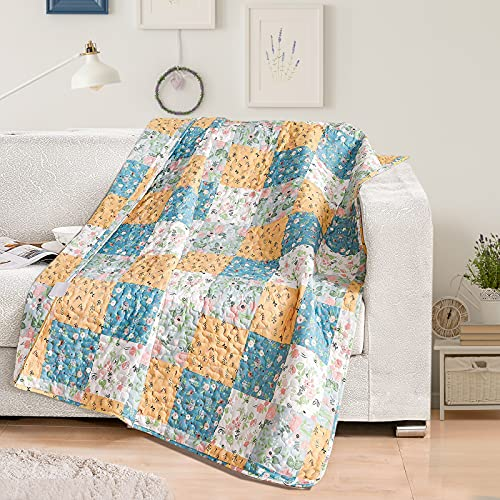 Exclusivo Mezcla Microfiber Boho Patchwork Quilted Throw Blanket for Bed/Couch/Sofa, Soft and Ligthweight (50'x60',Blue)