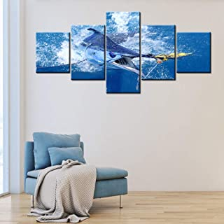 Shark Fish Wall Art for Living Room Big Game Fishing Pictures Blue Sea Paintings Multi Panel Prints on Canvas Ocean Wave Artwork Modern Home Decor Giclee Framed Stretched Ready to Hang(50''W x 24''H)