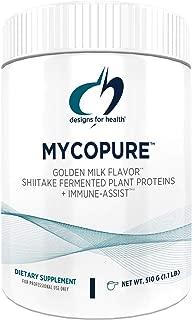 Designs for Health MycoPure Golden Milk Mushroom Protein - Vegan Shiitake Fermented Rice Pea Protein + Immune Support Mushrooms (1.1 Pounds / 15 Servings)