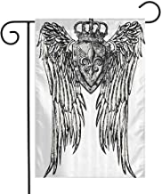 Mannwarehouse Fleur De Lis Decor Collection Garden Flag Tribal Tattoo Design with Wings Aged Arms Badge Crest Crown Eagle Decorative Flags for Garden Yard Lawn W12 x L18 Black and White