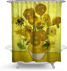 "HMWR KISY Art Sunflower Fabric Shower Curtain Van Gogh Painting Bathroom Decor Weighted Shower Curtain for Bathtub Showers,70"" x 70"", Retro Flower"