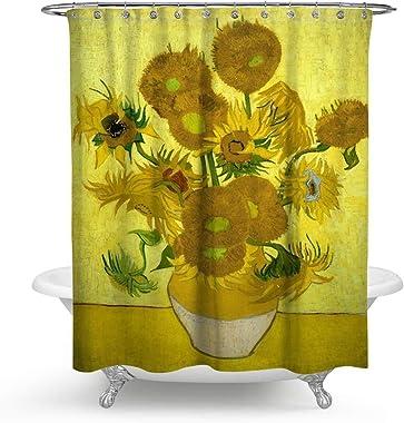 HMWR KISY Art Sunflower Fabric Shower Curtain Van Gogh Painting Bathroom Decor Weighted Shower Curtain for Bathtub Showers,70