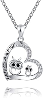 ACJFA Mother Daughter Necklace - 925 Sterling Silver Owl Always in My Heart Pendant Necklace for Women Gift