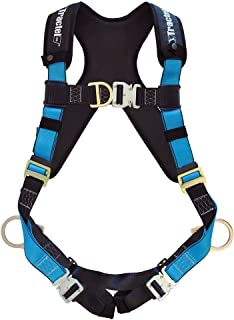 Tractel AT7132XXL/XT Harness with One Size Fits Most Automatic Buckles, TracX Pad, Side-Positioning, Sternal, Fixed Chest Strap, Dorsal D-Ring and Frontal Attachment, XX-Large, Blue/Black