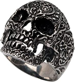 Stainless Steel Biker Sovereign Skull Ring- Size 10